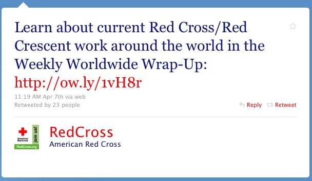 Red Cross Twitter Web Copywriter Blog Article