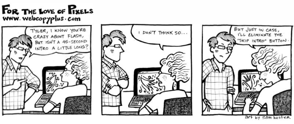 Flash Button - Webcopyplus web copywriter cartoon