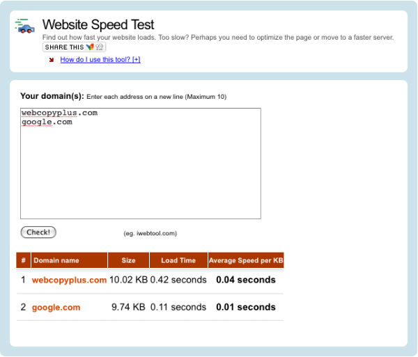 Webcopyplus website speed test versus Google
