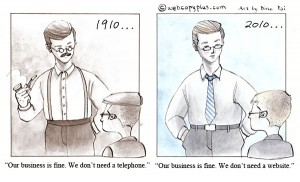 1910 vs 2010 - Website cartoon by Web Copywriters at Webcopyplus
