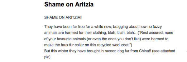 Aritzia Called Out for Fur