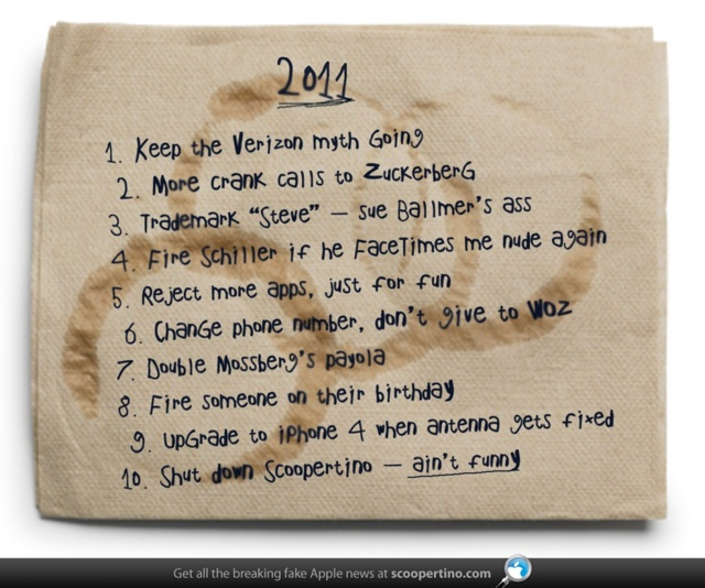 Steve Jobs' New Years Resolutions on a Napkin