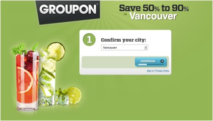 Groupon Landing Page Example