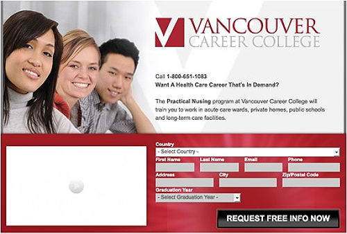 Landing Page for a Nursing Program at VCC