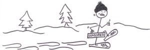 Stickman tries naked snowshoeing