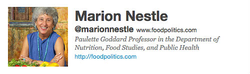 Marion Nestle's Twitter Account