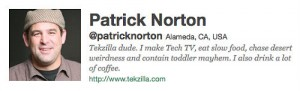 Patrick Norton's Twitter Account