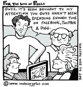 Social Media Cartoon - Facebook Twitter Digg - For the Love of Pixels
