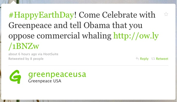 Green Peace USA Twitter Web Copywriter Blog Article