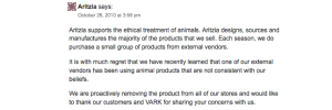 Aritzia's Response to Animal Rights Blogger
