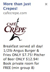 Cafe Crepe Facebook ad