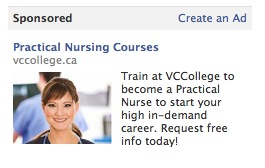 Facebook Ad for Nursing Program